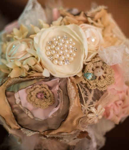 Handmade Flower Bridal Bouquet Shabby Chic, Rustic wedding, pearls, lace, crochet flowers, satin, broaches, sentimental family heirlooms bouquet, pink, cafe, and ivory