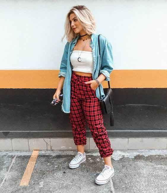 look tumblr com calça xadrez