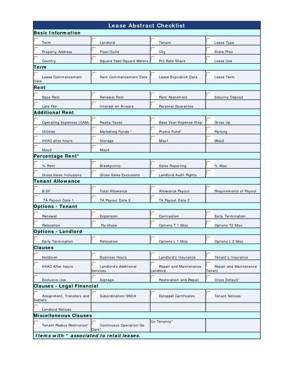 Lease Abstract Checklist MAeKwWzg | LCR_Lease Abstract | Pinterest ...