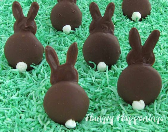 Cute bunnies, made from vanilla wafers, chocolate and mini marshmallows