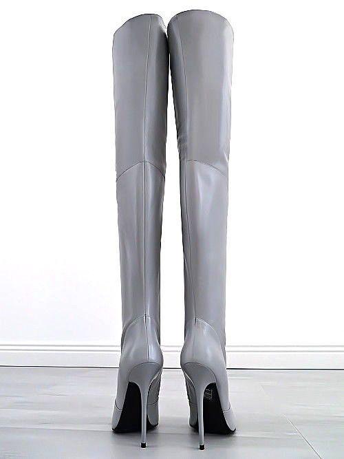 sale retailer a0a69 932e7 LANGE OVERKNEE LEDER STIEFEL GRAU 1969 ITALY DAMEN T93 BOOTS ...