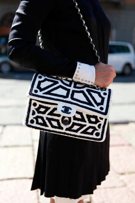graphic black + white chanel bag.: