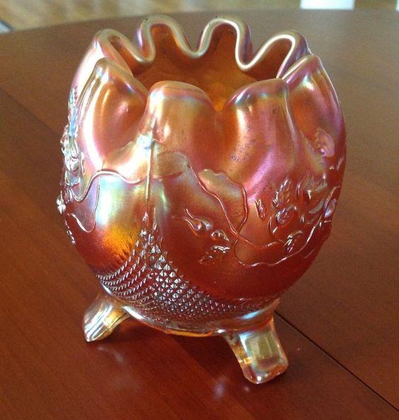 Northwood Carnival Fine Cut Amp Roses Footed Rose Bowl Vase Marigold Rose Bowls Vintage