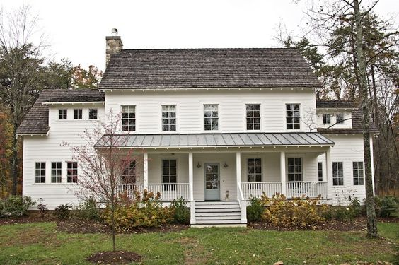 Farmhouse porches and dream houses on pinterest for Farmhouse metal roof