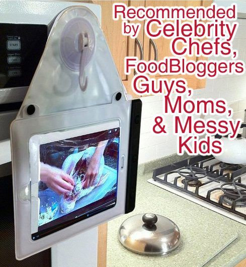 The Nifty iPad Case Gadget - Reviewed and loved by Celebrity Chefs, Foodies, Bloggers, and YouTube Chefs... give the gift that gets the iPad off the counter, protected from messes and even into the bath and shower! Under $44 on Amazon for the holidays now!