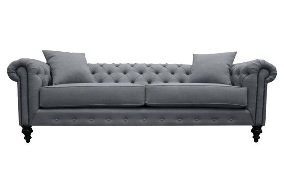 "Maria 90"" Tufted Linen Sofa, Gray"