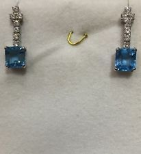 14k Solid Yellow Gold Dangle Leverback 5.4CT Natural Blue Topaz Rectangle Cut&CZ