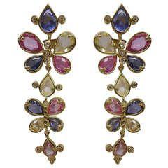 Temple St. Clair Multicolor Sapphire Diamond Gold Earrings