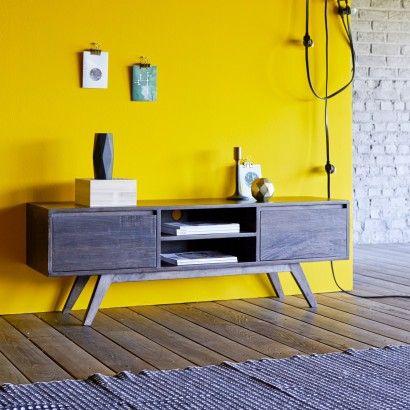 TV-Tisch aus dunklem Mangoholz Moka 130