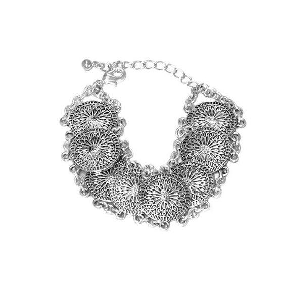Bracelet mode Boho, piècettes et chaine métal argenté vieilli