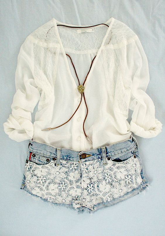 .: Denim Short, Summer Outfit, Dream Closet, Sheer Top, Spring Summer, Lace Shorts, White Top