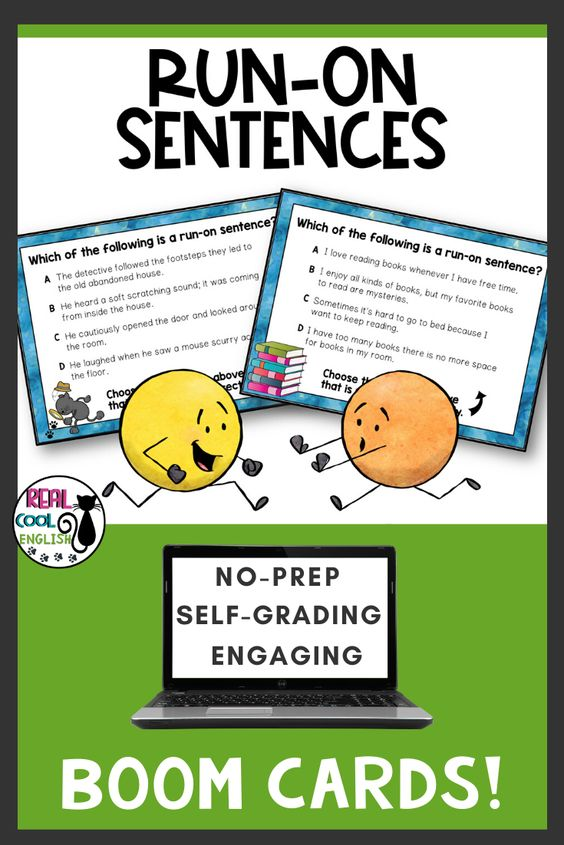 Run On Sentences Boom Cards Comma Splices And Fused Sentences Run On Sentences Improve Writing Skills Vocabulary Activities