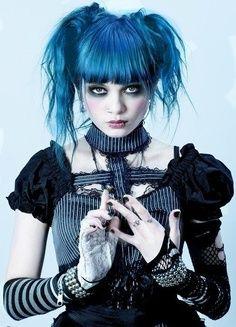 LOVEEEE THE BLUE HAIR!! More like this at www.DarkRealmz.com #gothic #dark #steampunk