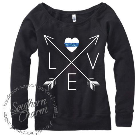 Southern Charm Designs Love Arrow Cross Thin Blue Line