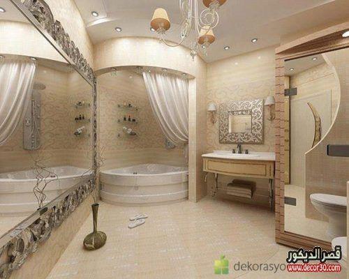 ديكور حمامات منازل تصاميم سيراميك حمامات صغيرة قصر الديكور Bathroom Design Luxury Bathroom Design Fancy Bathroom