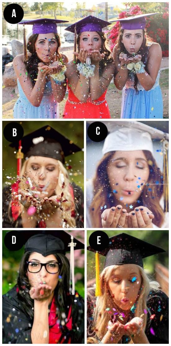 """125.  Blowing Glitter- Here's a fun idea, have the graduate blow a handful of glitter toward the camera.  Because nothing says """"party time!"""" like some glitter.  ;)"""