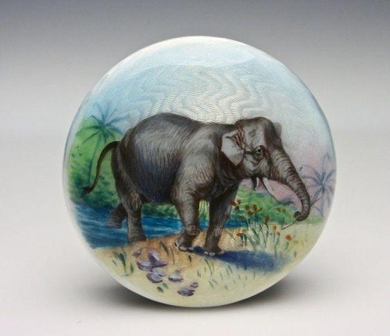 Austrian Sterling Silver Enamel Guilloche Elephant Box Circa 1900 Mint Antique | eBay