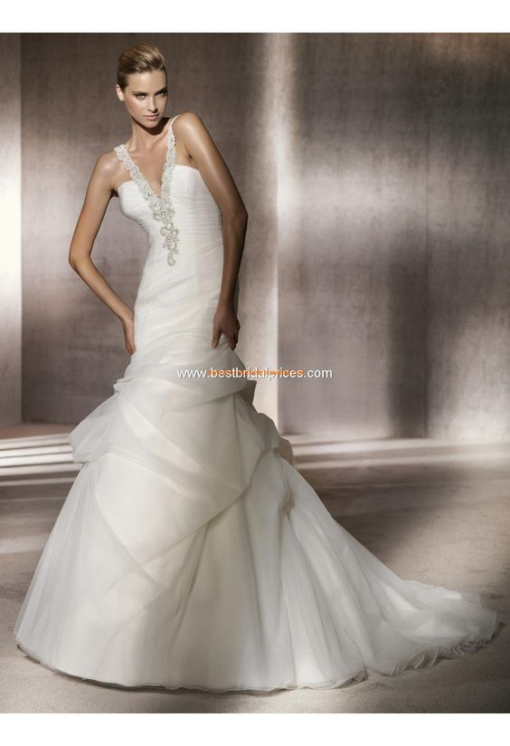 Robe de mariée sirène avec bretelle perlées