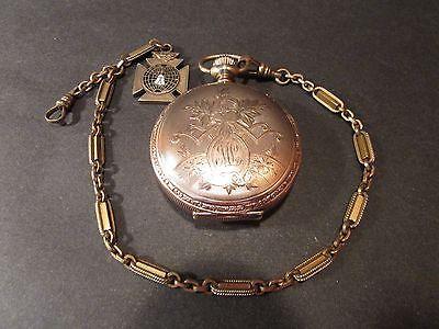 1901-Elgin-7J-gold-Pocket-Watch-9107867-side-dial-nicely-engraved-case-4826380