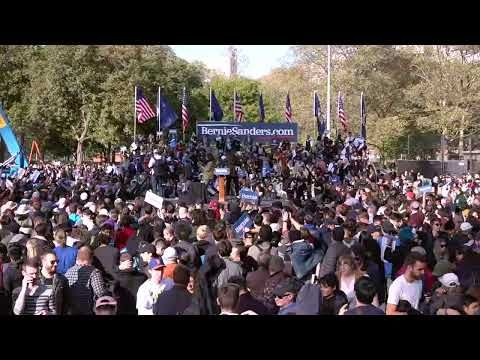 Watch Live Bernie Sanders Holds Rally With Alexandria Ocasio Cortez In New York City With Images Bernie Sanders Pbs Newshour