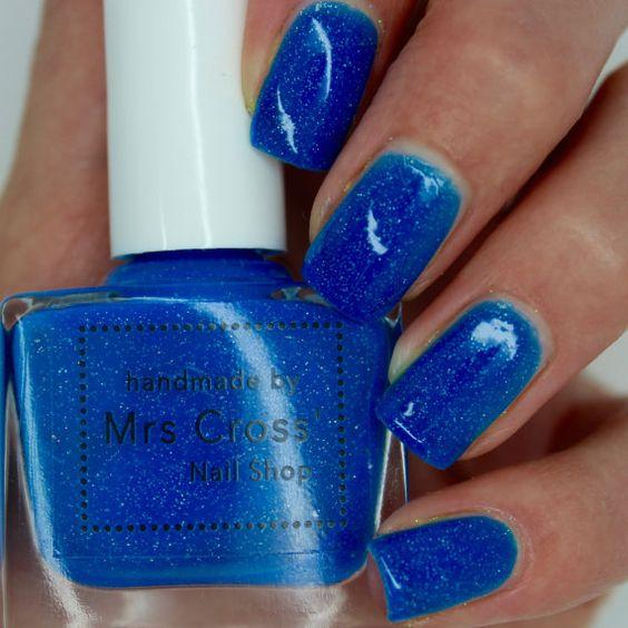 Mullet  10ml  Bright Blue Neon Nail Polish  by MrsCrossNailShop