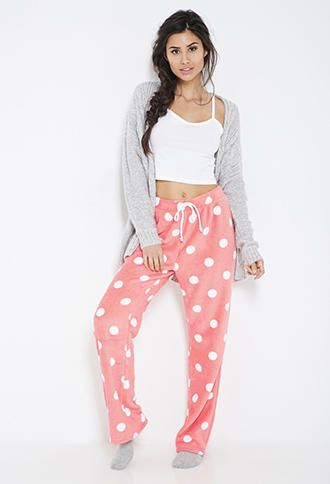 FOREVER 21 Plush Polka Dot PJ Pants Coral/Cream from Forever 21. Saved to pajamas. #pjs #ifonly #suhcute.: