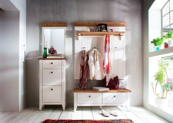 Garderobe Malin Set 2 Holz Akazie Weiß 20863. Buy now at https://www.moebel-wohnbar.de/garderobe-malin-set-2-holz-akazie-weiss-20863.html