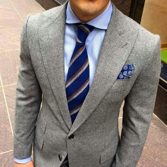 Blue striped tie with light blue shirt