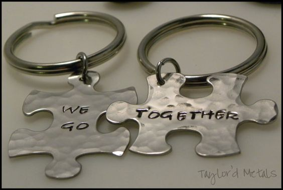 hand stampedstainless steelkeychainpuzzle by TaylordMetals on Etsy, $20.00