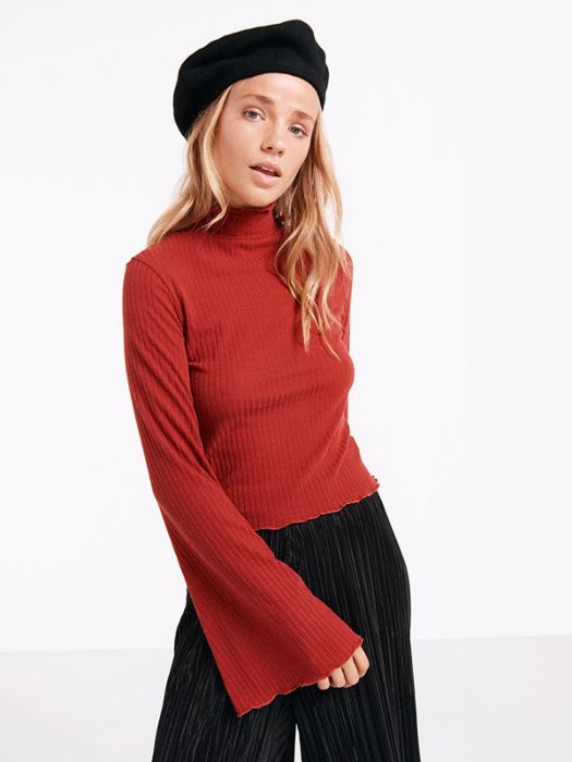 Rust Frilly Edge Flute Sleeve Top