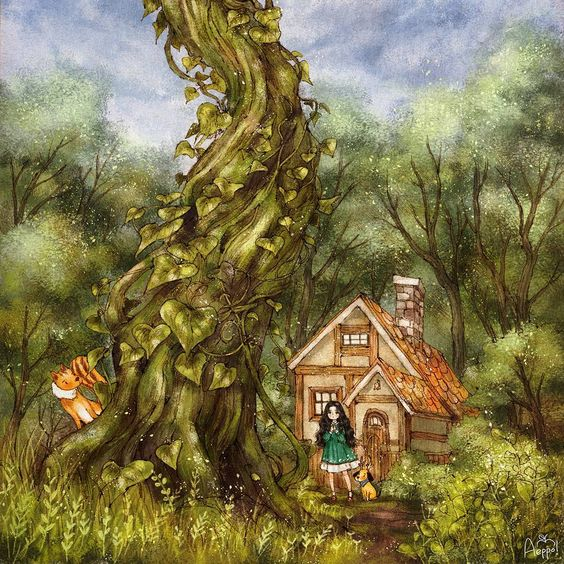 #illustration #drawing #paint #girl  #onepiece #dog #puppy #tree #woods #forest #fairytale #jackandthebeanstalk