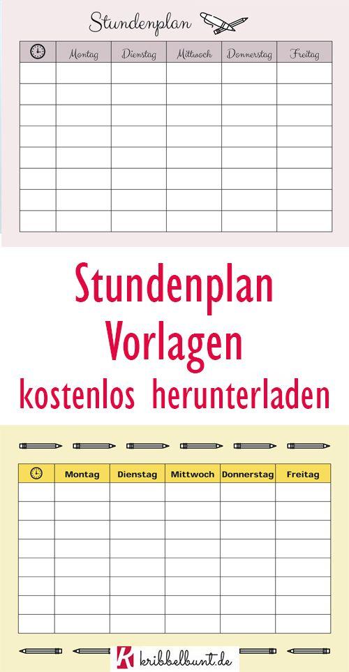 Stundenplan Vorlage Word Excel Kostenlos Downloaden
