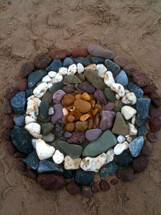Such an interesting way to use materials.  This could be used as an activity for preschoolers outside.  Let them walk around (preferably on a beach) and choose natural materials to create their own artwork on the ground.