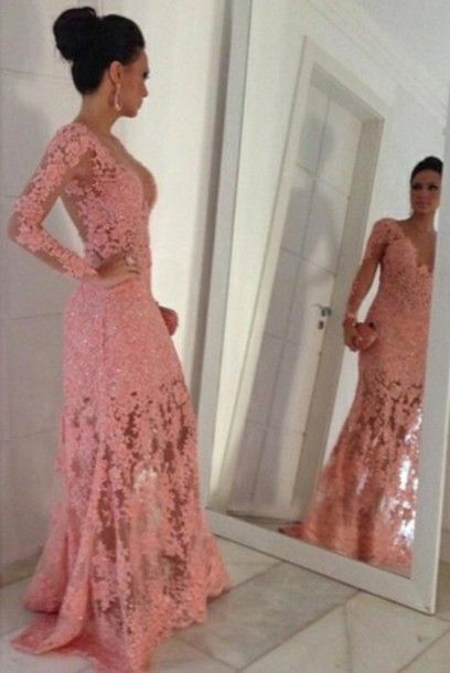 Prom Dresses,Pink Evening Gowns,Lace Formal Dresses,Prom Dresses,new Fashion Evening Gown,Beautiful Evening Dress