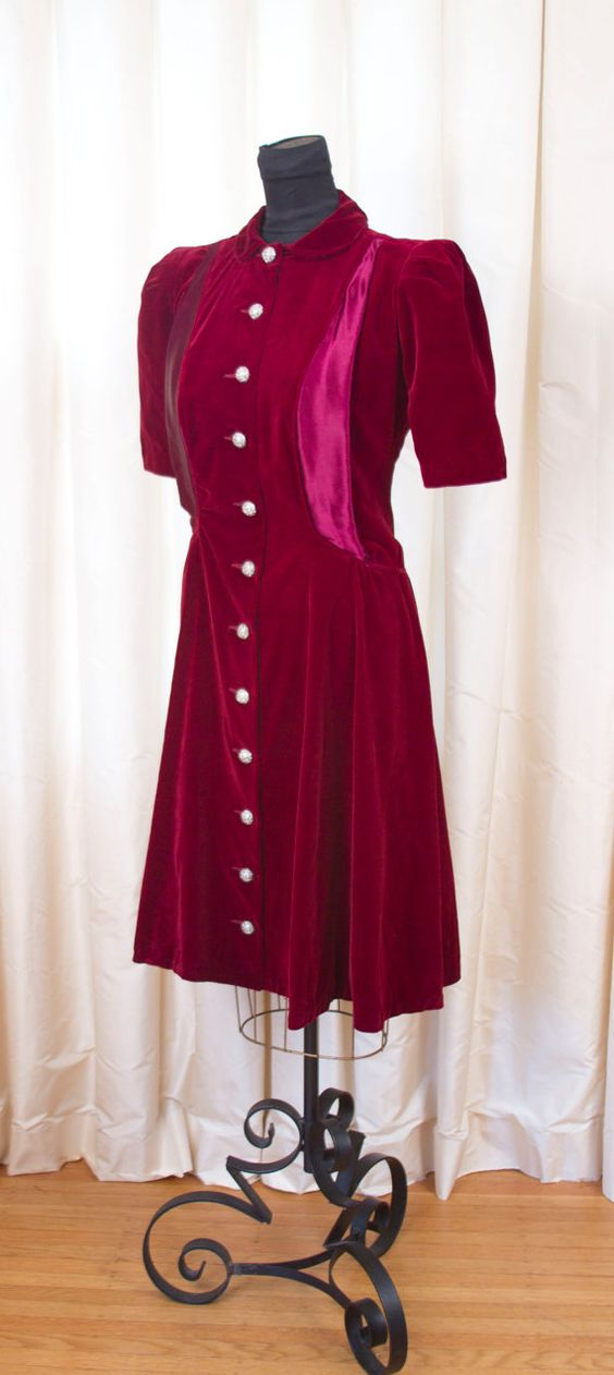 1940's Dress // Wine Red Velveteen and Satin by GarbOhVintage