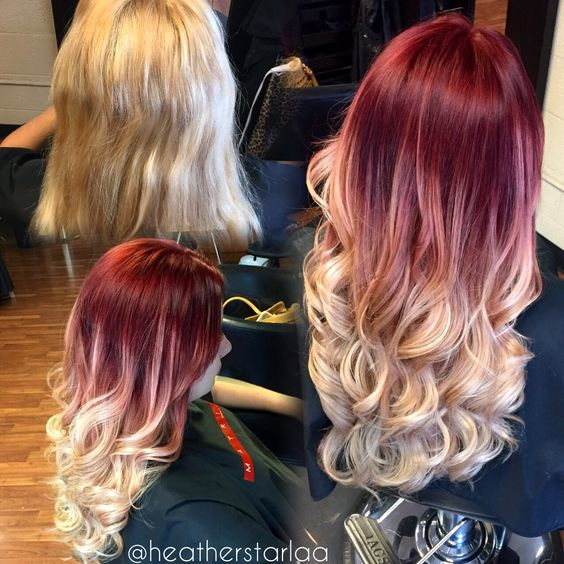 Red to ash blonde balayage ombre. Red hair. Blonde hair. Ash blonde hair