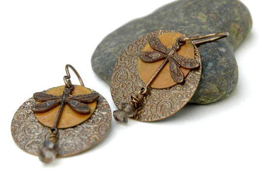 Dragonfly earrings Smoky Quartz Embossed by JillianDesigns4u, $24.00