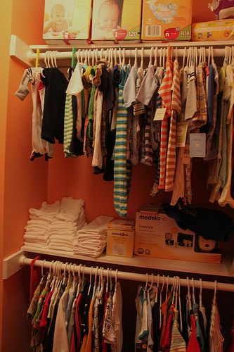 small closet, double bar and shelf. need 2 do this for the new babys