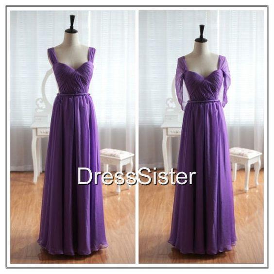 Long Cap Sleeve Bridesmaid Dress  Purple Bridesmaid by DressSister, $119.99