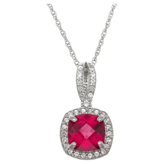 Cushion-Cut Ruby Halo Pendant in Sterling Silver, Women's