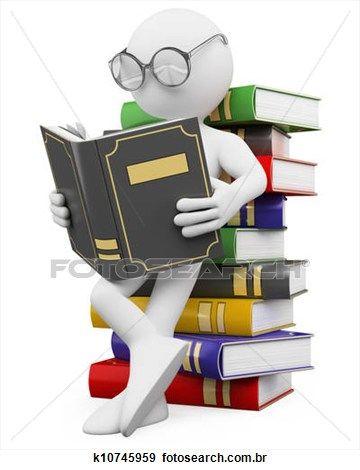 3d, branca, pessoas., estudante, lê, um, livro Ampliar Ilustração