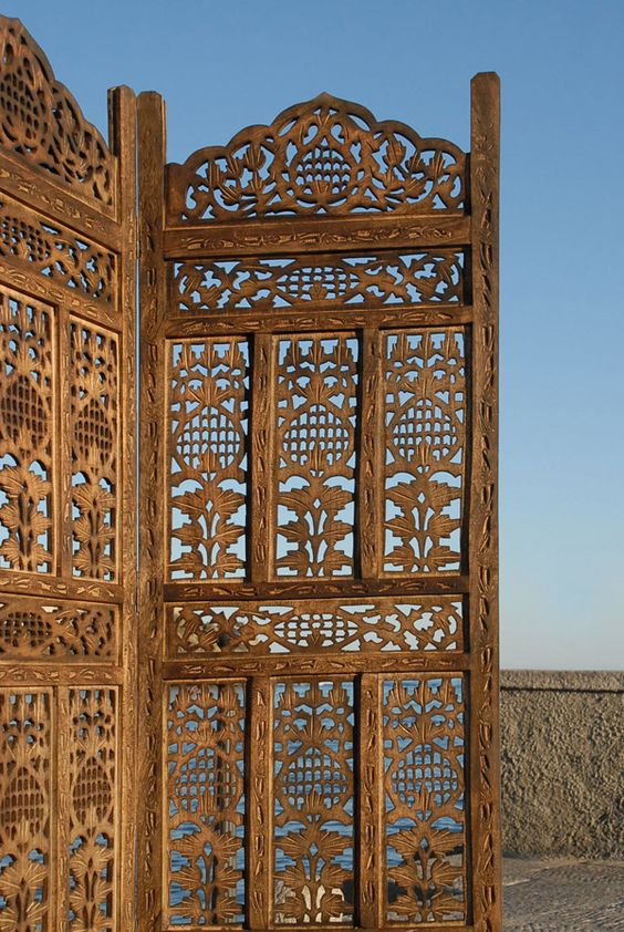 Paravent panel indian hand carved wooden screen room
