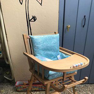 High Chair Cushion Coated Cotton Blue Fans Avec Images