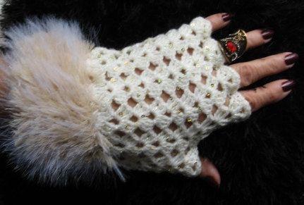 Crochet Fingerless Gloves Women Fingerless  Gloves Wool by zyzon