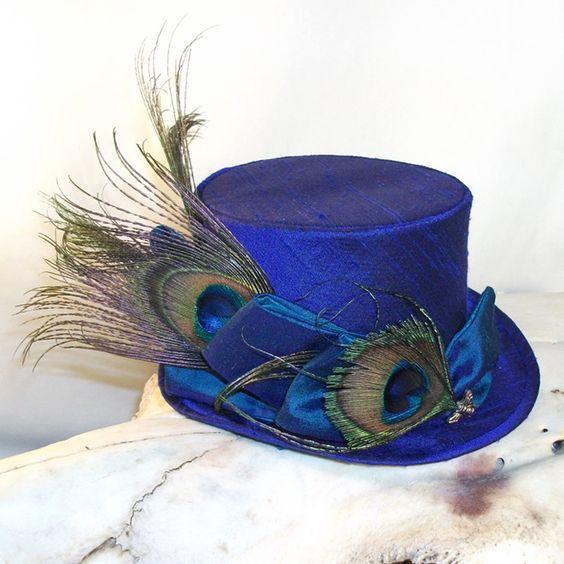 Blue Silk Mini Top Hat - Peacock Feathers - Burlesque Headpiece, Tiny Hat, Bridal Fascinator. $170.00, via Etsy.