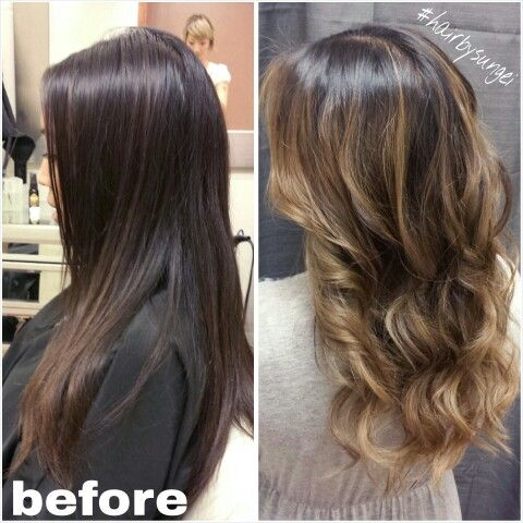 Balayage highlights second session caramel colormelt asian hair