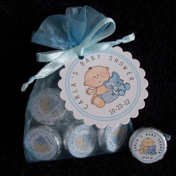 Baby Shower Favors Hershey Kisses ~ Personalized hershey kiss baby shower favor kit blue by