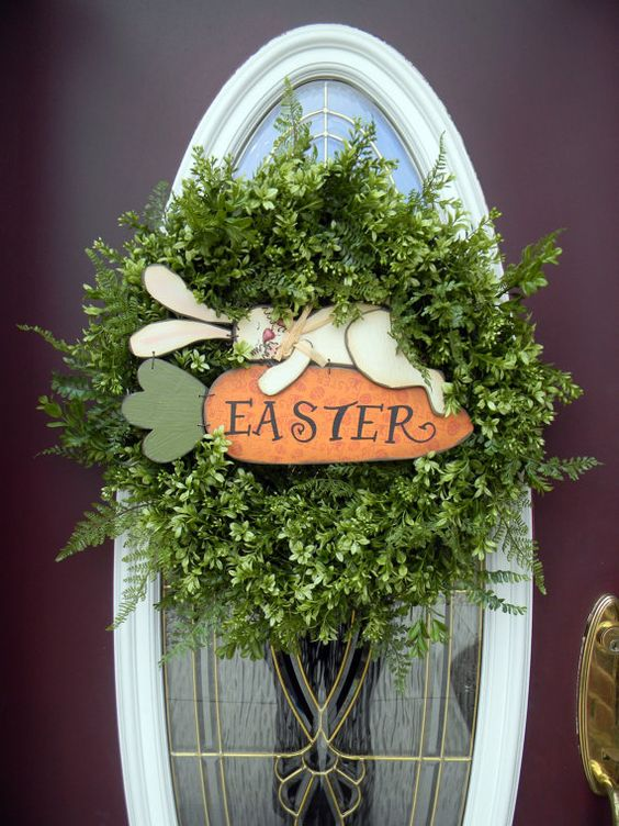 Easter wreath. I wish I would have seen this earlier. I would have made it for this Easter. Put it on my list for next year.: