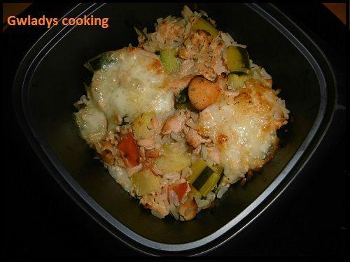 Gratiné de saumon et ses petits légumes