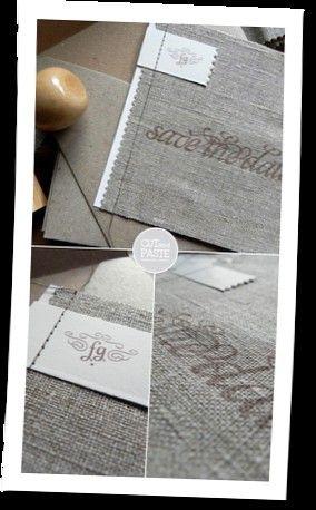 Wedding invitation, linen, charcoal, grey